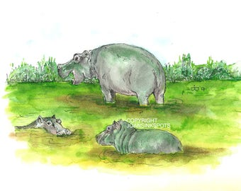 Hippo's in watercolor and ink, digital download.