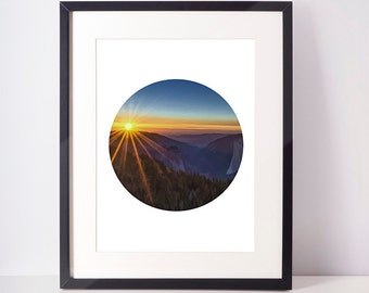 Sunset photography 8x10 - 24x36 inc, landscape print, sunset wall art, sunset wall print, sunset poster, circle art print, circle photo