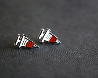 Nurse Shot Studs -- Shot Earrings, Shots, Needles, Red and Black, Ouch!