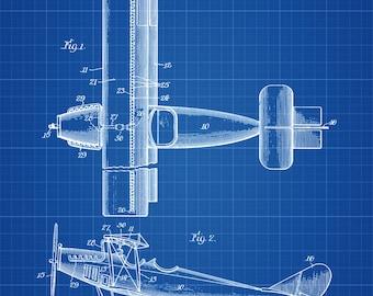1931 Biplane Patent Print - Airplane Art, Vintage Airplane, Airplane Blueprint, Pilot Gift, Aircraft Decor, Airplane Poster, Biplane Patent