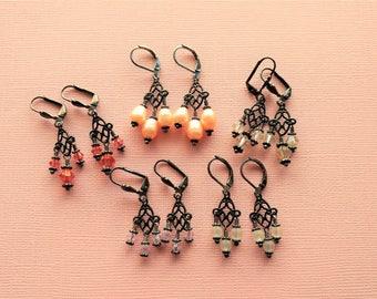 Gunmetal Little Gypsy Bohemian Crystal Chandelier Bridal Earrings