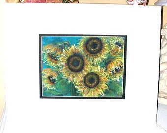 SUNFLOWERS original pastel painting double matted 16 x 20