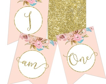 First Birthday Banner printable - I am ONE banner - 1st birthday banner - Girls birthday - Pink and gold birthday decorations - ONE banner