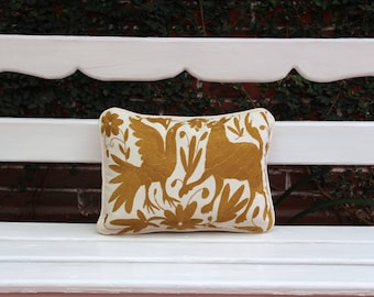 Gold Otomi Sham backed and piped with handwoven artisan rustic eco textiles
