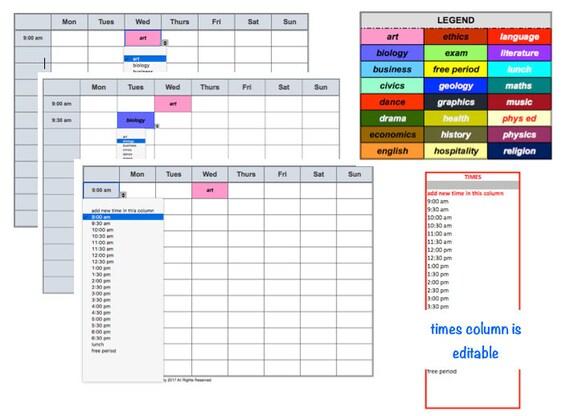 Schule Klasse Zeitplan Zeitplan Excel-Datei editierbar Zeit