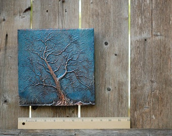 Tree Branches Garden Art, Rustic Tree Wall Art, Stormy Sky Tree Sculpture Garden Plaque, Garden Gift, Outdoor Tree Stone Art
