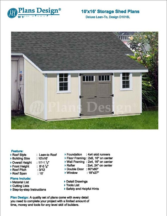 10 x 16 Garden Storage Leanto Shed Plans Blueprints Material – Garden Shed Plans 10 X 16