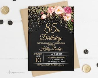 85th birthday invite etsy 85th birthday invitation floral women birthday invitation chalkboard birthday invite personalized digital filmwisefo Choice Image