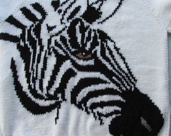 Hand knitted Zebra sweater