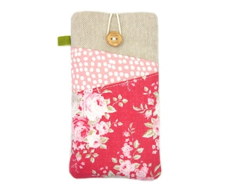 iPhone 8 Case, Pink Floral iPhone Case, iPhone X Cover, iPod 6, iPhone 7 Sleeve, iPhone 8 Plus Pouch, Soft Fabric Phone Case, Phone Case SE