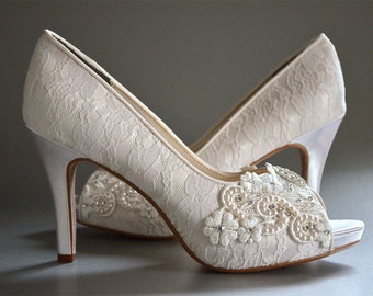 Lace Wedding Shoes - Womens Wedding Shoes, Bridal Shoes, Custom Colors - Vintage Wedding Lace Peep Toe Heels, Women's Bridal Shoes PBT-0384