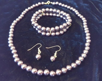 Chocolate Pearl Necklace, Bracelet, and Earring Set
