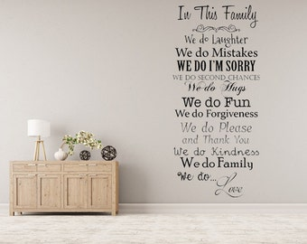 In This Family We Do... Vinyl Wall Decal Inspirational Custom Vinyl Lettering Decal Family Wall Sign Custom Wall Decal We Do Love