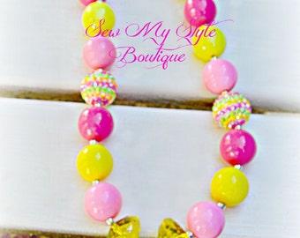 Lemonade Chunky Bead Necklace SALE/Pink Lemonade and Yellow Lemonade Necklace for girls