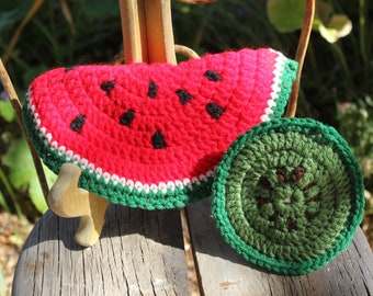 1970's Vintage Hand Crocheted Trivet / Hot Pad + 1 Coaster - WATERMELON - Excellent Condition