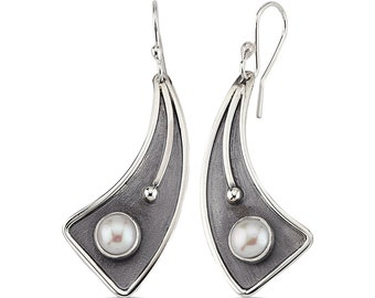 Sterling Silver Hand Made Earrings with Fresh Water Pearl
