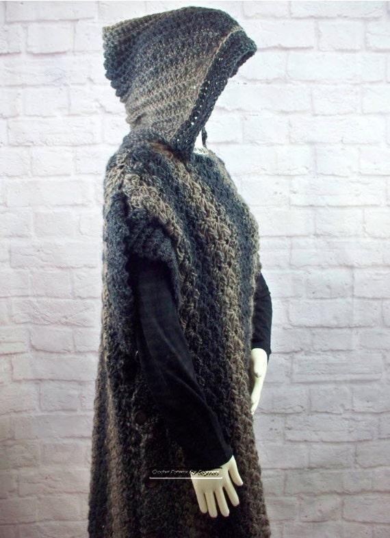 Hooded Poncho Crochet Pattern Easy Crochet Pattern Coat