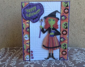 Happy Halloween Witch Card H06