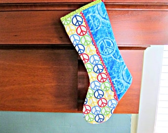 Quilted Christmas Stocking, Peace Sign Stocking, Hippie Christmas Decor, Hippie Stocking, Tie-Dye Stocking, Patchwork Stocking