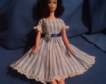 Vintage Barbie Doll Clothes Striped Blue Clone Dress