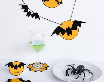 Eek Bats! Printable Halloween Party Decorations Kit - type to personalize for your guests - INSTANT DOWNLOAD