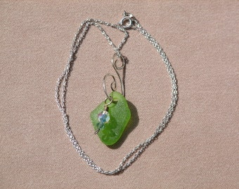 Beach Glass Pendant/Necklace w/ Swarovski bead & Handmade Sterling Silver Bail on Sterling Chain