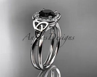 Celtic engagement ring, platinum diamond celtic trinity knot wedding ring, engagement ring with a Black Diamond center stone CT7330