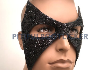 LEATHER MASK Black Molded Leather Mask; Black w Black Glitter Batman, Masquerade Mardi Gras, Punk Cosplay Very Comfortable
