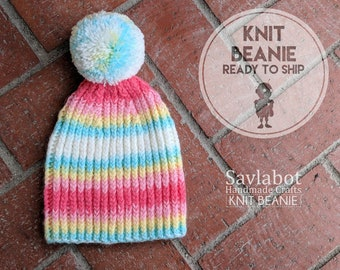 knit beanie - youth/child beanie - with pom pom - ready to ship - One Size Fits Most - pink blue yellow white hat