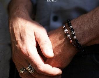 2 SKULL BRACELETS - GOTHIC Jewelry, Sterling Silver Bracelet - Set of the 2 Bracelets -  Men Jewelry