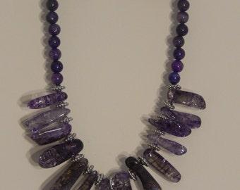 Ice Flake Grape Quartz Necklace