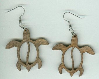 FREE SHIPPING - Hawaiian Sea Turtles Earrings - Laser Cut Wood (ER-111)