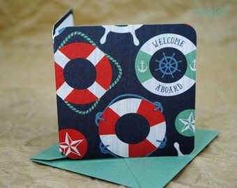 Blank Mini Card Set of 10, Nautical Life Preserver Design with Contrasting Stripe on the Inside, Sea Salt Envelopes, mad4plaid