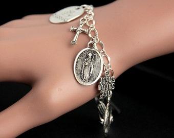 Saint Augustine Bracelet. Catholic Bracelet. St Augustine Charm Bracelet. Catholic Jewelry. Religious Jewelry. Handmade Jewelry.