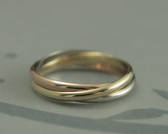 Tri Color Rolling Ring--Solid 14K Yellow Gold, White Gold and Rose Gold--Russian Wedding Band--Gold Intertwined Band--Women's Wedding Ring