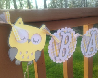Owl Baby Shower Banner Yellow Grey and White
