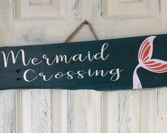 Mermaid Crossing Wood Sign