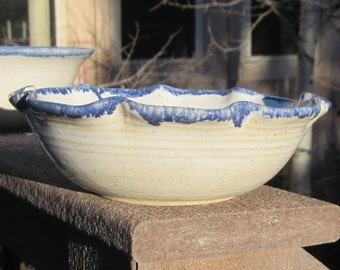 Serving Bowl in White and Blue with Flower Shaped Rim - Handmade Pottery