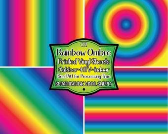 Rainbow Ombre Vinyl Print/Printed Heat Transfer Vinyl/Patterned Vinyl/Printed 651 Vinyl/Printed 631 Vinyl/Printed Outdoor Vinyl/Printed HTV