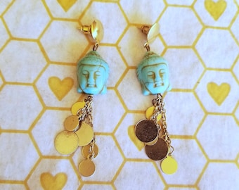 Gold and turquoise Buddha dangle earrings