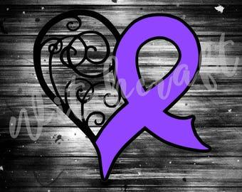 Purple Ribbon + Heart  ||  Vinyl Decal  ||  Fibromyalgia Awareness