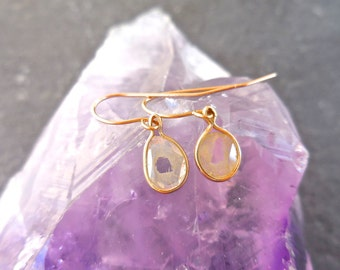 Custom Diamond Slice Earrings - Natural Diamond Earrings, 14kt Gold Bezel, Slice Earrings, Dangle Earrings, Modern Diamond Earrings