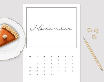 2017 November Calendar - Monthly Calendar - Printable November Calendar - Minimalistic Calendar - November Calendar - 2017 Wall Calendar