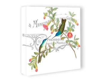 Canvas Gallery Wrap - Summer Cottage Hummingbird Art Canvas - 12x12 16x16 18x18 Inch Canvas Art - Nature Wall Art