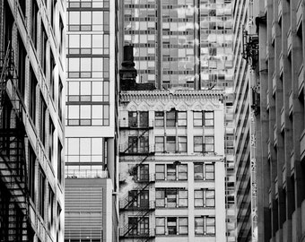 Chicago Photography, Abstract Architecture Photography, Chicago Loop Prints, Office Wall Decor, Black and White, Wall Art, Downtown
