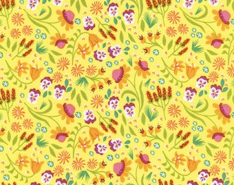 Modern Calico Yellow - Fat Quarter Cut - Timeless Treasures - Cotton Fabric - Quilting Fabric