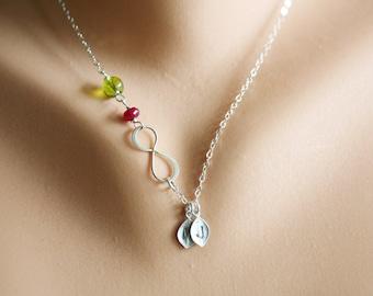 Personalized infinity necklace,leaf initial necklace,custom birthstone,hand stamped monogram leaf,Sideways infinity,Leaf necklace,Friendship