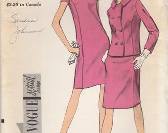 Chic 60s A-Line Dress & Jacket Pattern Vogue 7158 Size 12 Uncut - Rare