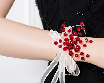 Limited Edition Red Wrist Corsage - Bright Red Corsage  -   Corsage  - Flower Corsage