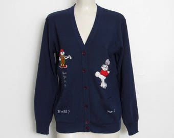 Vintage Novelty Sweater / Navy Blue Golf Cardigan w/ Embroidered Rabbits / Women's 1970s Lady LaMode Active Sportswear